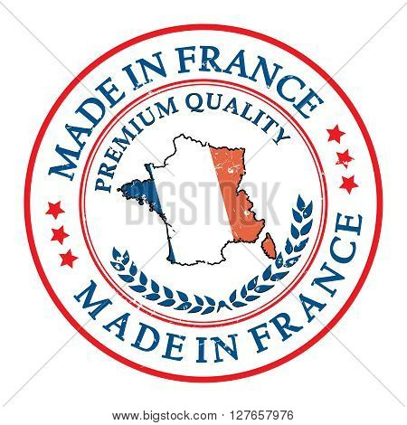 Made in France, Premium Quality grunge label. Contains the French flag and colors. Print colors used