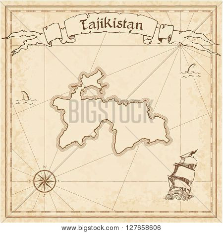 Tajikistan Old Treasure Map. Sepia Engraved Template Of Pirate Map. Stylized Pirate Map On Vintage P