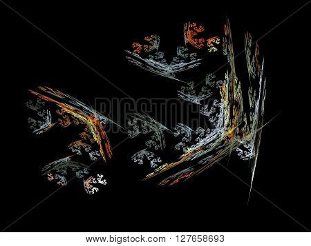 Image Of One Digital Fractal On Black Color