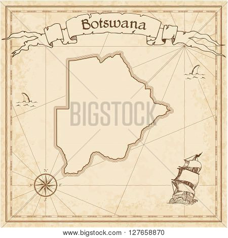 Botswana Old Treasure Map. Sepia Engraved Template Of Pirate Map. Stylized Pirate Map On Vintage Pap