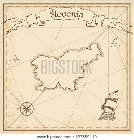 Slovenia Old Treasure Map. Sepia Engraved Template Of Pirate Map. Stylized Pirate Map On Vintage Pap