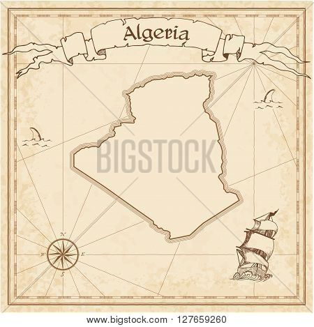 Algeria Old Treasure Map. Sepia Engraved Template Of Pirate Map. Stylized Pirate Map On Vintage Pape