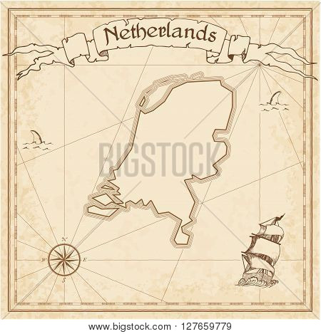 Netherlands Old Treasure Map. Sepia Engraved Template Of Pirate Map. Stylized Pirate Map On Vintage