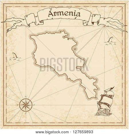Armenia Old Treasure Map. Sepia Engraved Template Of Pirate Map. Stylized Pirate Map On Vintage Pape