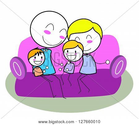 Happy family .eps10 editable vector illustration design