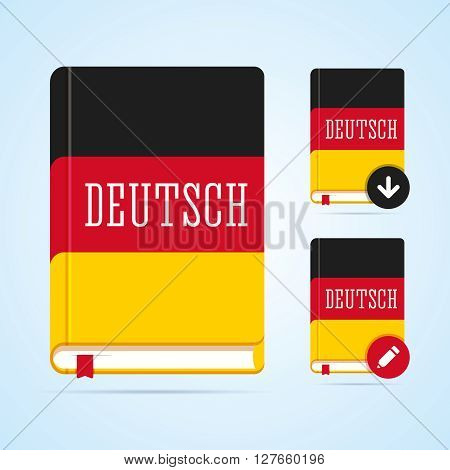 Deutsch book illustration with download and edit icons. Vector image for web or print.
