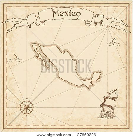 Mexico Old Treasure Map. Sepia Engraved Template Of Pirate Map. Stylized Pirate Map On Vintage Paper