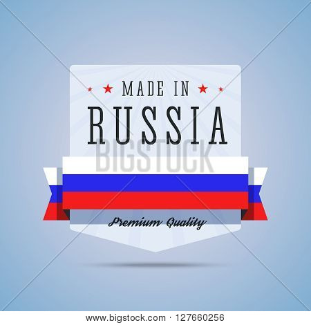 Made in Russia badge. Emblem with Russia flag for premium quality products. Vector illustration in flat style.