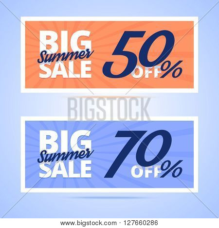 Big Summer Sale cards. Vintage color with calligraphic text in flat style banners. 50 and 70 percents off variants. Vector illustration for web or print projects.
