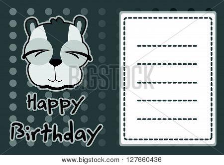 Birthday card with illustration cute raccoon .eps10 editable vector illustration design