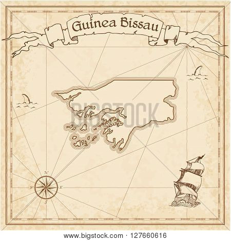 Guinea-bissau Old Treasure Map. Sepia Engraved Template Of Pirate Map. Stylized Pirate Map On Vintag
