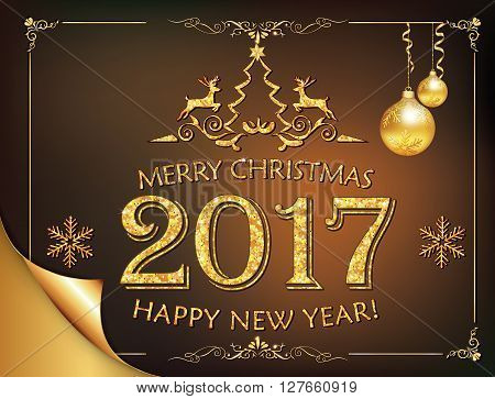 Elegant Greeting Card Design with Golden Paint Stains, Reindeer shapes, snowflakes and Christmas Baubles. Vector Illustration. Happy New Year 2017