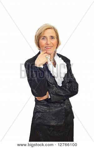 Elegant Senior Woman With Pearls