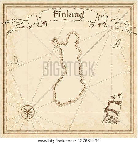 Finland Old Treasure Map. Sepia Engraved Template Of Pirate Map. Stylized Pirate Map On Vintage Pape