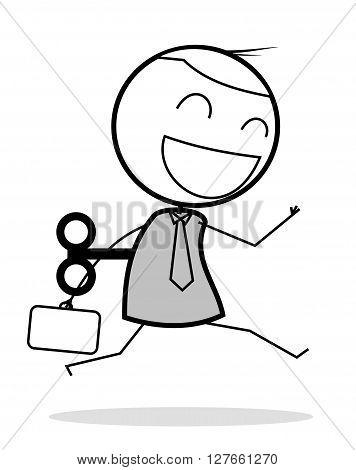 Happy automation businessman .eps10 editable vector illustration design