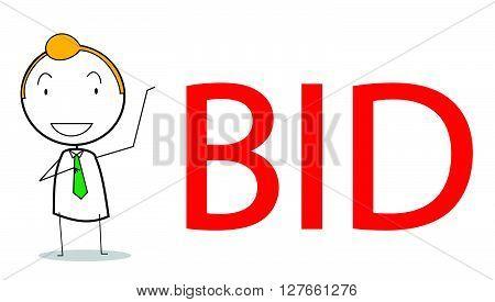 Businessman bid .eps10 editable vector illustration design