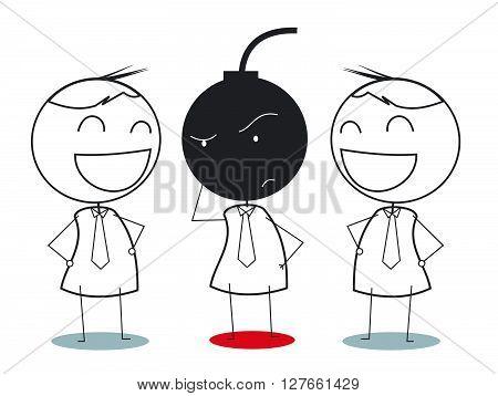 Businessman wondering with bomb trap .eps10 editable vector illustration design