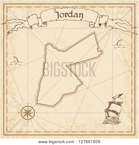 Jordan Old Treasure Map. Sepia Engraved Template Of Pirate Map. Stylized Pirate Map On Vintage Paper