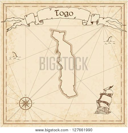 Togo Old Treasure Map. Sepia Engraved Template Of Pirate Map. Stylized Pirate Map On Vintage Paper.