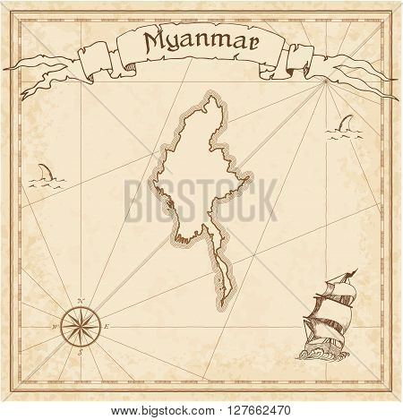 Myanmar Old Treasure Map. Sepia Engraved Template Of Pirate Map. Stylized Pirate Map On Vintage Pape