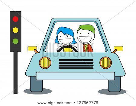 Girl train drive car .eps10 editable vector illustration design