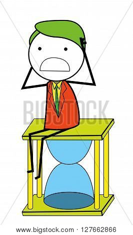Man sands clock .eps10 editable vector illustration design