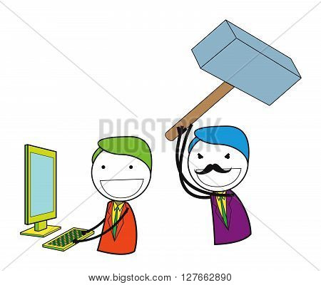 Man hammer computer .eps10 editable vector illustration design