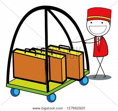 Hotel boy .eps10 editable vector illustration design