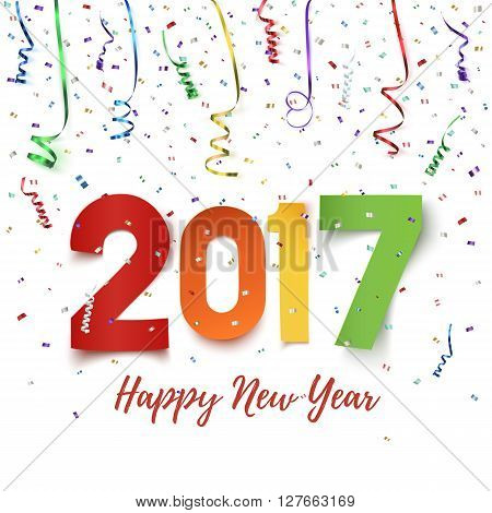 Happy New Year 2017 celebration background. Happy New Year 2017 colorful paper typeface on background with ribbons and confetti on white. Happy New Year greeting card template. Vector illustration.