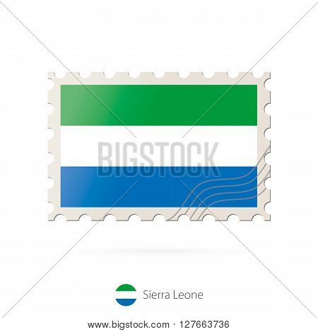 Postage Stamp With The Image Of Sierra Leone Flag.