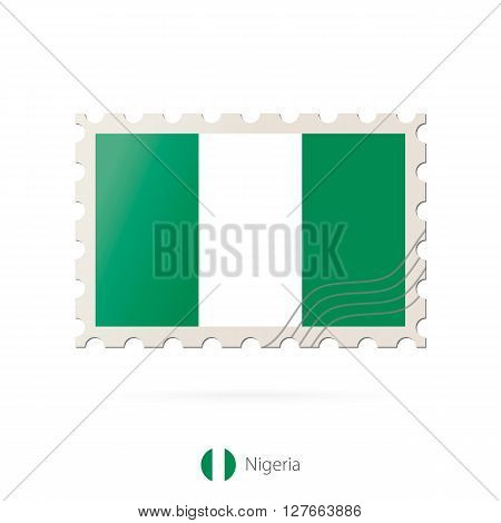 Postage Stamp With The Image Of Nigeria Flag.