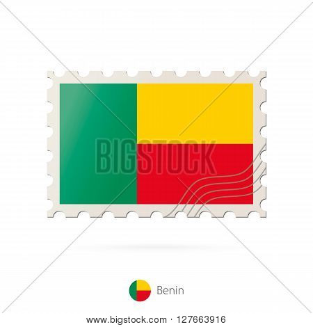 Postage Stamp With The Image Of Benin Flag.