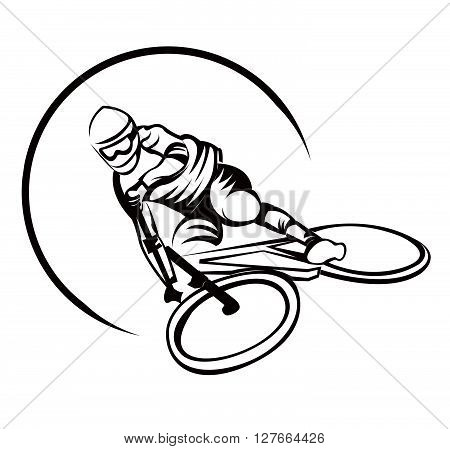 Bicycle Sport Downhill Symbol .eps10 editable vector illustration design