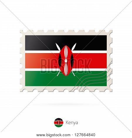 Postage Stamp With The Image Of Kenya Flag.