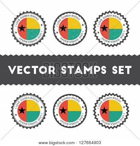 I Love Guinea-bissau Vector Stamps Set. Retro Patriotic Country Flag Badges. National Flags Vintage