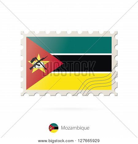 Postage Stamp With The Image Of Mozambique Flag.