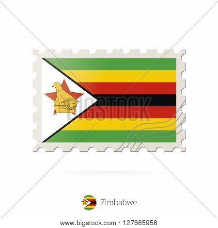 Postage Stamp With The Image Of Zimbabwe Flag.