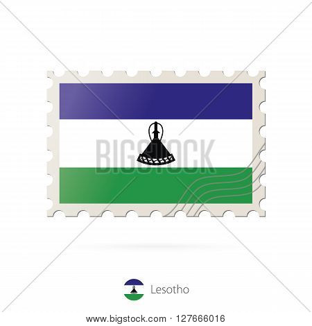 Postage Stamp With The Image Of Lesotho Flag.