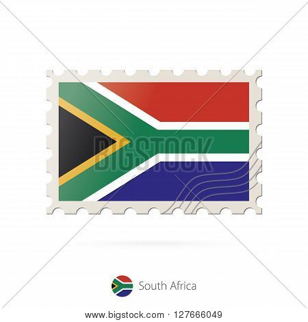 Postage Stamp With The Image Of South Africa Flag.