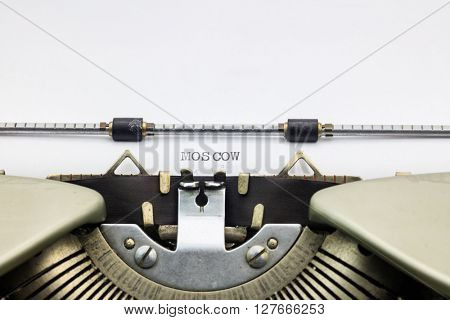 Typewriter paper with word Moscow