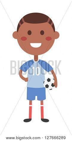 Young football boy vector illustration.