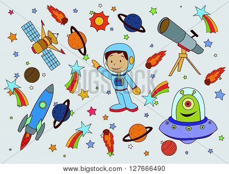 Funny and Cute Planet Space set.eps10 editable vector illustration design