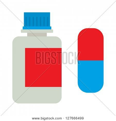Tablets bottle vector icon.