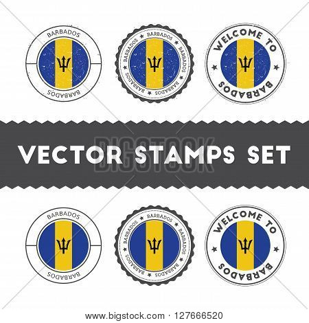 Barbadian Flag Rubber Stamps Set. National Flags Grunge Stamps. Country Round Badges Collection.