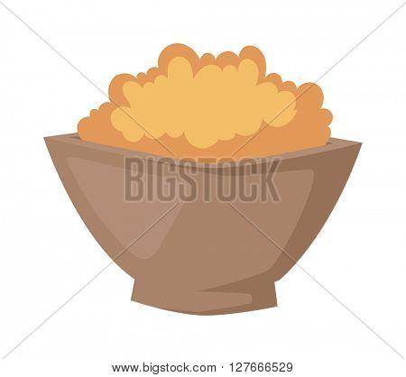 Buckwheat plate vector illustration.