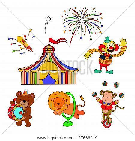 Doodle Circus Parade.eps10 editable vector illustration design