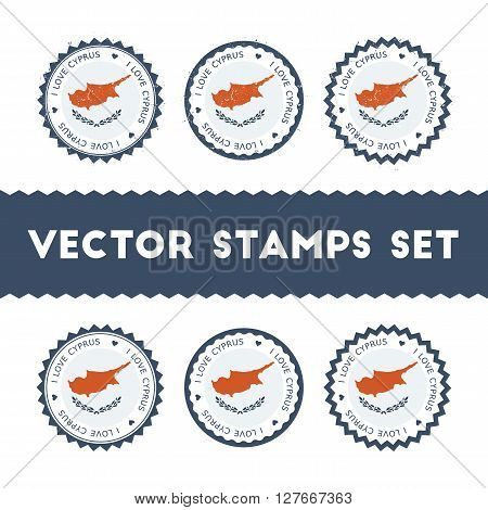 I Love Cyprus Vector Stamps Set. Retro Patriotic Country Flag Badges. National Flags Vintage Round S