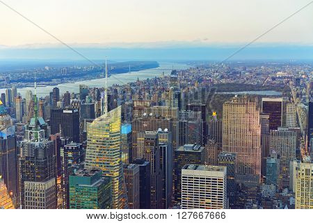 New York, USA - April 24, 2015: Aerial view from Observatory deck of the Empire State Building of Midtown Manhattan and Central Park New York USA. Skyline with skyscrapers. Upper Manhattan Hudson river and New Jersey on background
