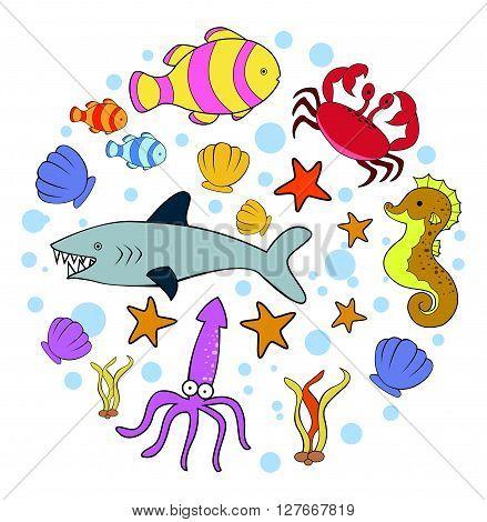 Sea Animal Doodle Circle Banner.eps10 editable vector illustration design