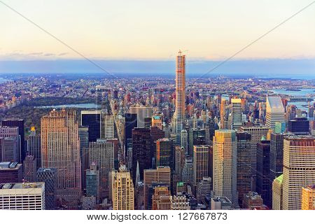 New york, USA - April 24, 2015: Aerial view from Observatory deck of the Empire State Building on Midtown Manhattan and Central Park New York USA. Skyline with skyscrapers at sunset